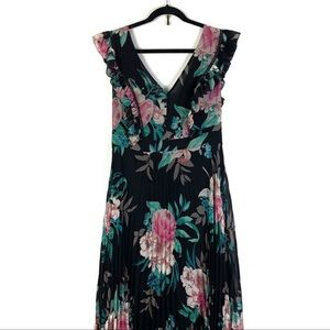 Eliza J Pleated Floral Gown 12